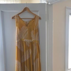 Yellow palm leaf maxi dress